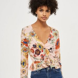 Topshop Star & Floral Print Ruched Blouse Size 10